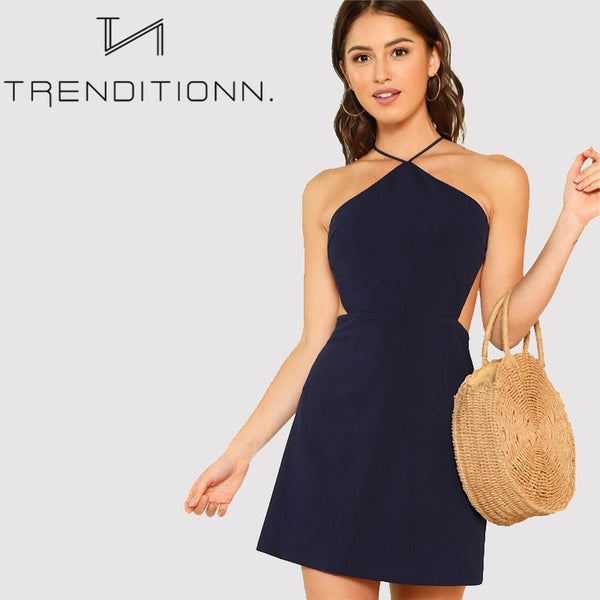 Navy sleeveless dress