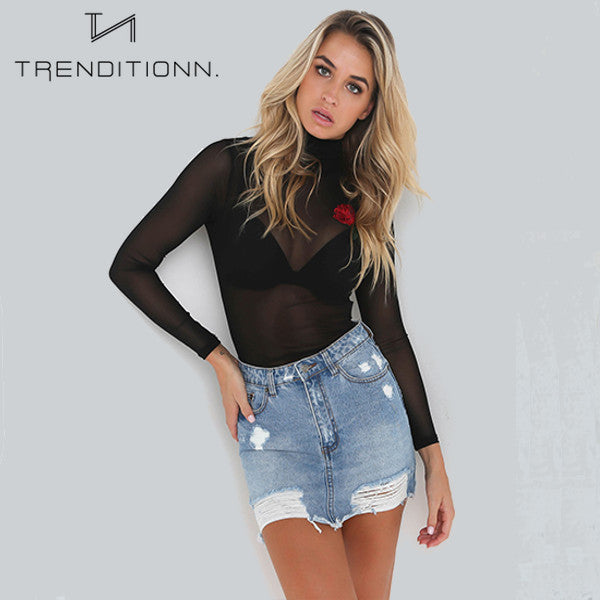 See through top with rose | Trenditionn.