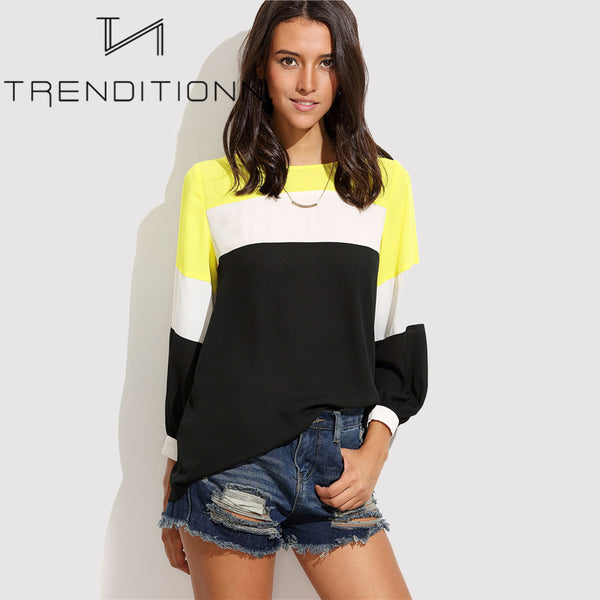 Colorful blouse with long sleeves