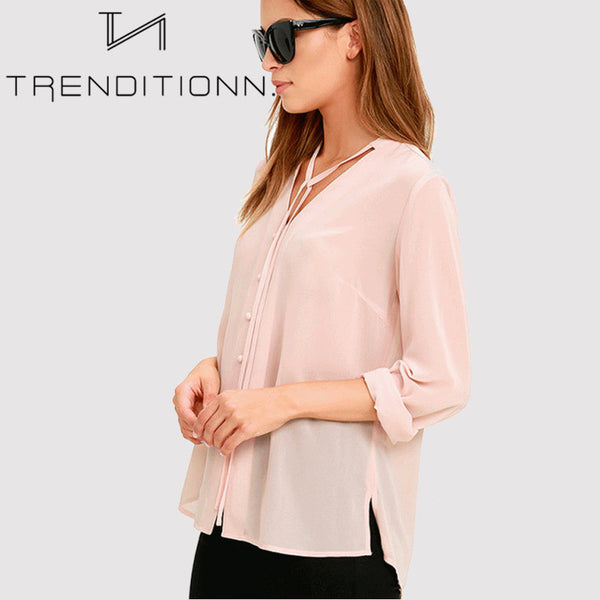 Long pink blouse with buttons