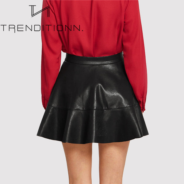 Fake leather mini skirt