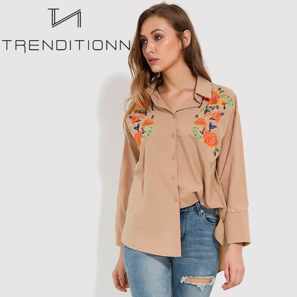 Wide floral blouse