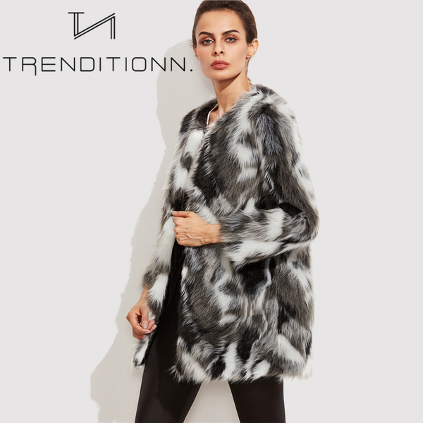 Multicolor fluffy coat