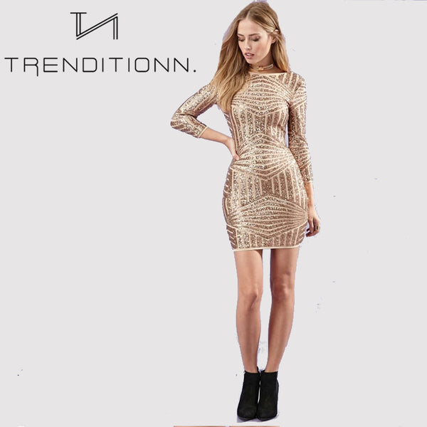 Gold mini dress with pattern