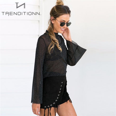 See through glitter shirt with flare sleeves | Trenditionn.
