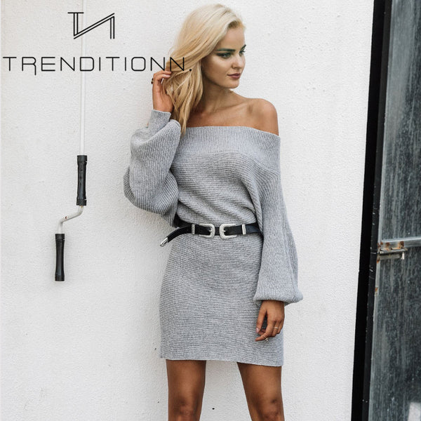 Grey off shoulder dress