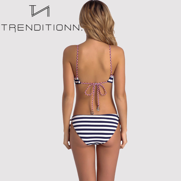 Striped push up bikini