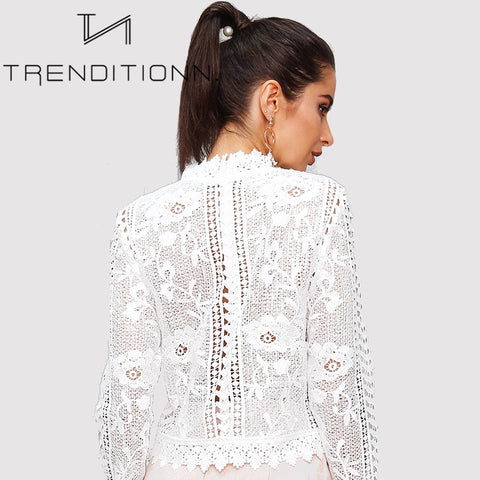 White see through lace blouse