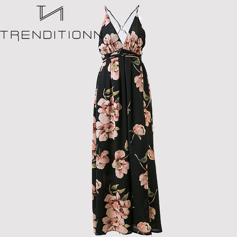Long flower maxi dress