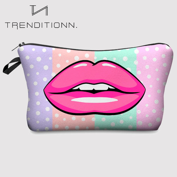 Make up bag with pink lips