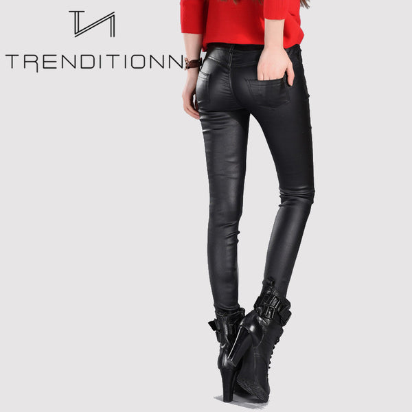 Long fake leather pants