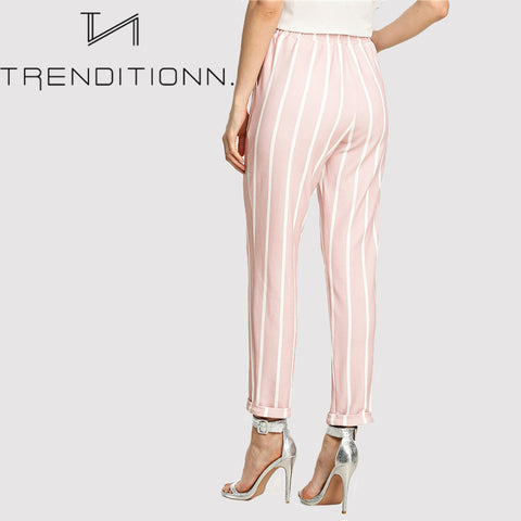 Pink striped pantalon