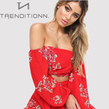 Red floral two piece