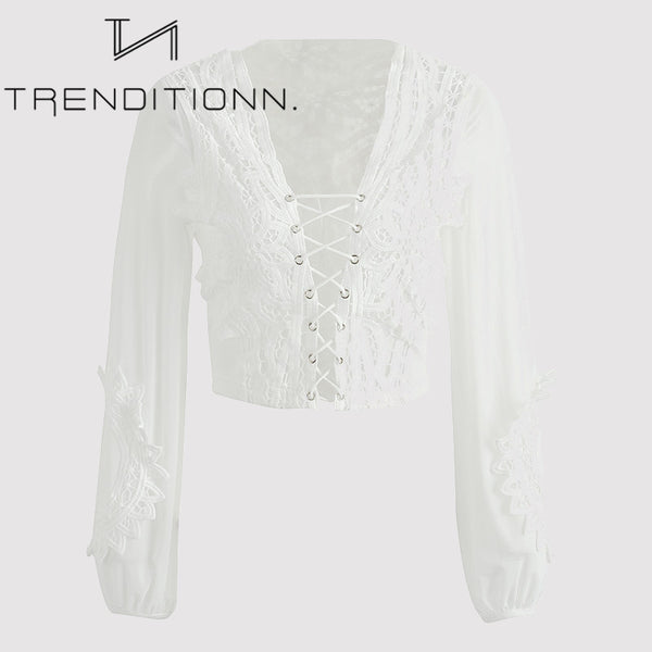 White mesh blouse