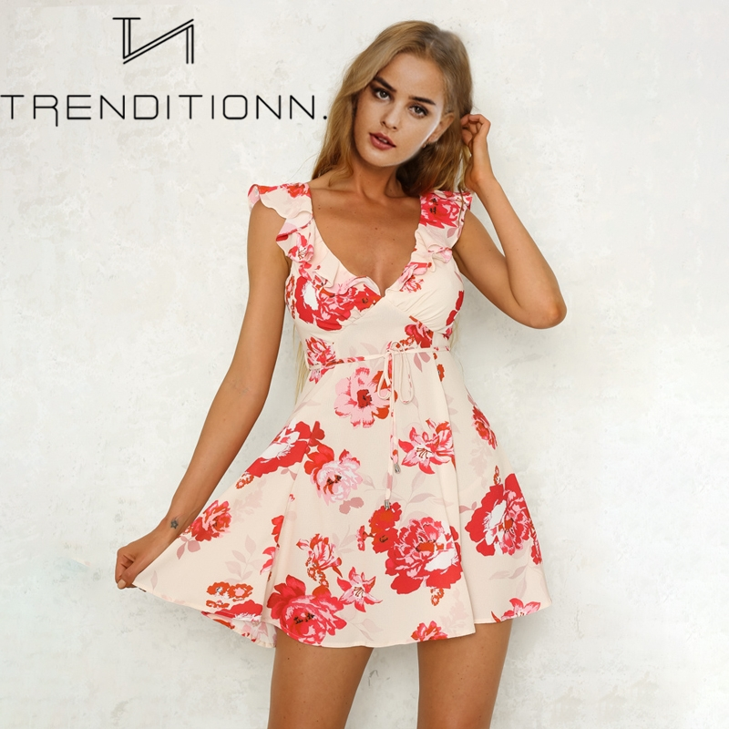 Short backless flower dress