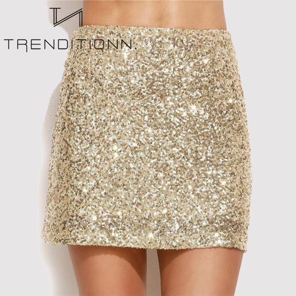 Gold mini skirt with sequins