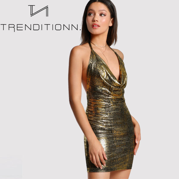 Gold metallic mini dress