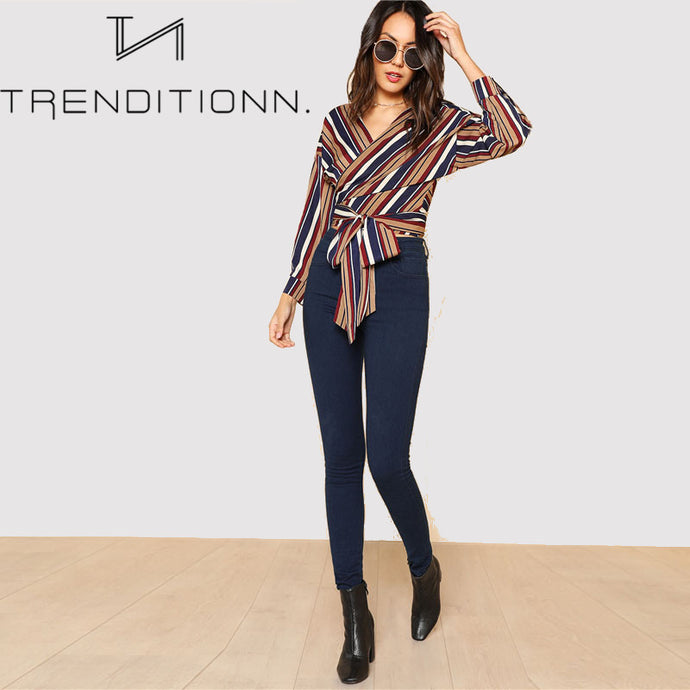 Striped colorful wrap blouse