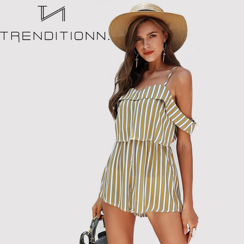 Yellow striped romper