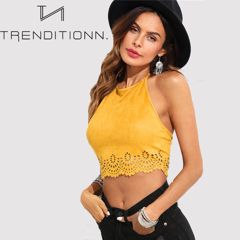 Suede yellow top