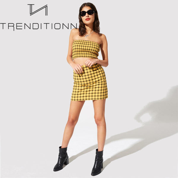 Yellow blocked two piece