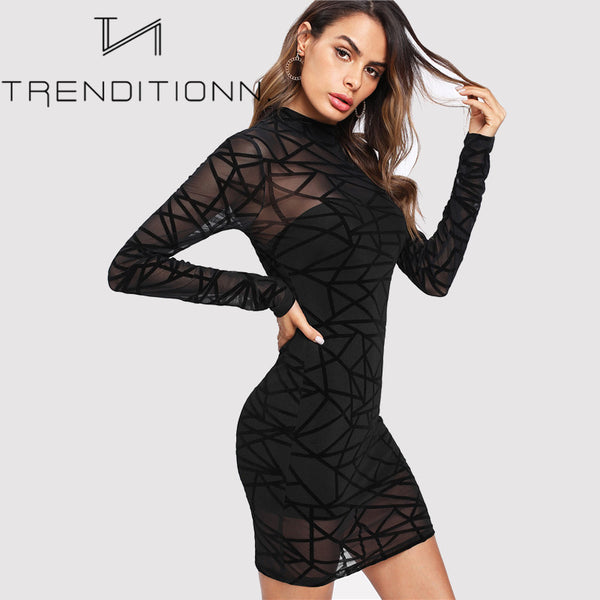 Mesh see through bodycon dress