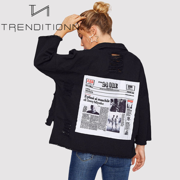Ripped denim jacket with back patches