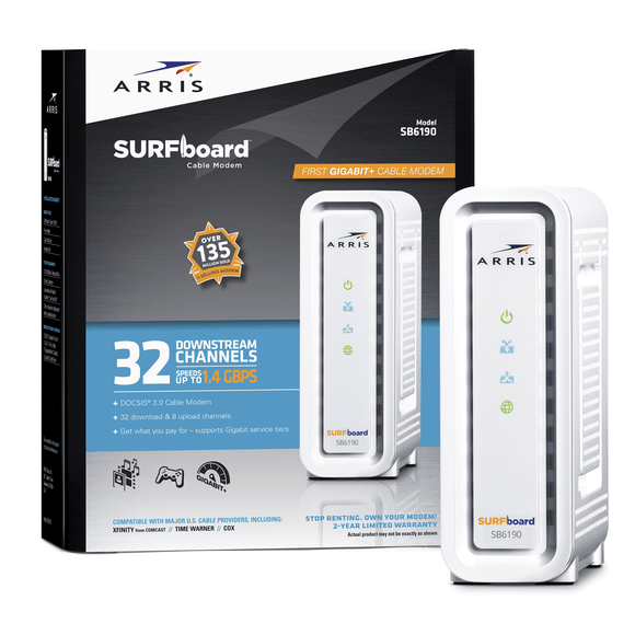 ARRIS SURFboard White SB6190 DOCSIS 3.0 Cable Modem 1.4gbps - Quality New and Refurbished Electronics