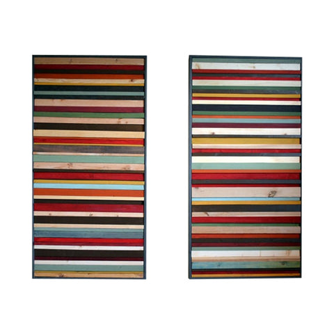 Wood Wall Art - Wood Sculpture - 24x48 Set (2 pcs) - Modern Textures