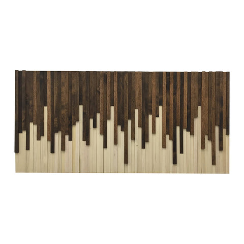 Wall Art - Wood Wall Art - Rustic Wood Sculpture Wall Installation 46X22 - Modern Textures