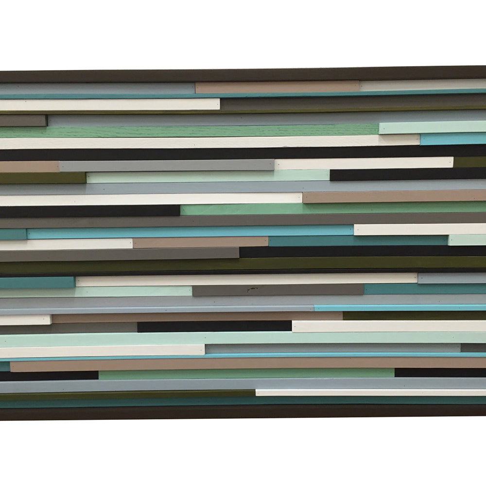 Modern Wood Sculpture Wall Art - Lines - 24 x 48 - Modern Textures