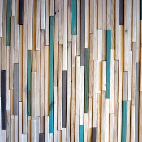 Wood Sculpture Wall Art - 3D Art - 24x24- White and turquoise - Modern Textures