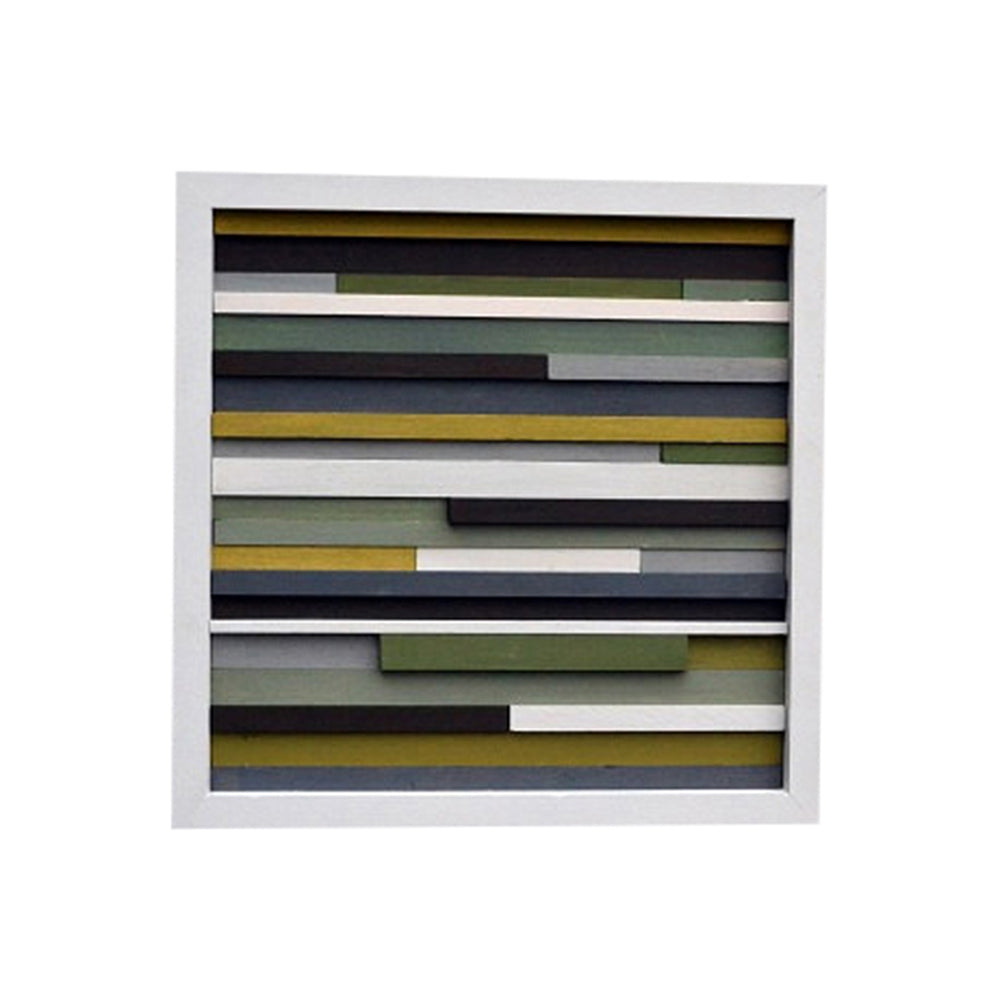 Wood Scultpure Wall Art - Upcycled Wood - 12x12 - Greens, grays and browns - Modern Textures