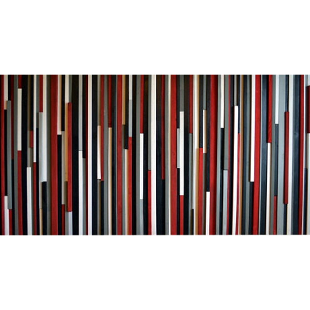 Wood Wall Art Wood Sculpture -  3D Art - Headboard - Red, Black, Gray & White - 36x72 - Modern Textures