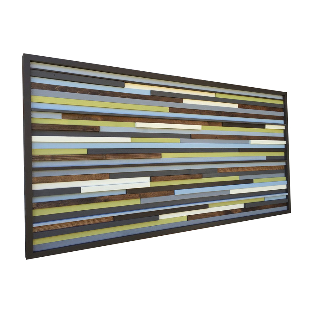 Wood Wall Art - Reclaimed Wood Art Sculpture - Modern Wall Art/Abstract Painting on Wood 48x24 - Modern Textures