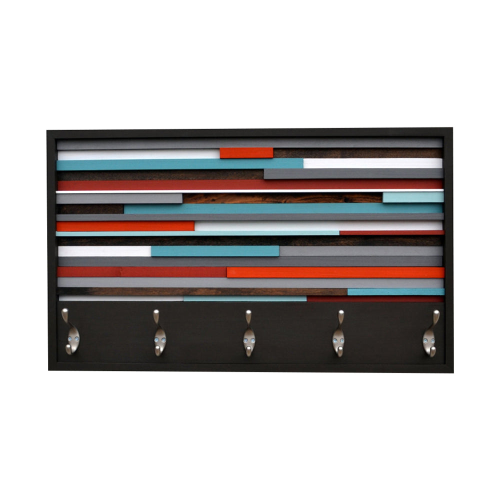Coat Rack - Organizer - Wood Wall Art - Reclaimed Wood Art - 3D Artwork - Coat Rack Abstract Painting on Wood - Modern Textures