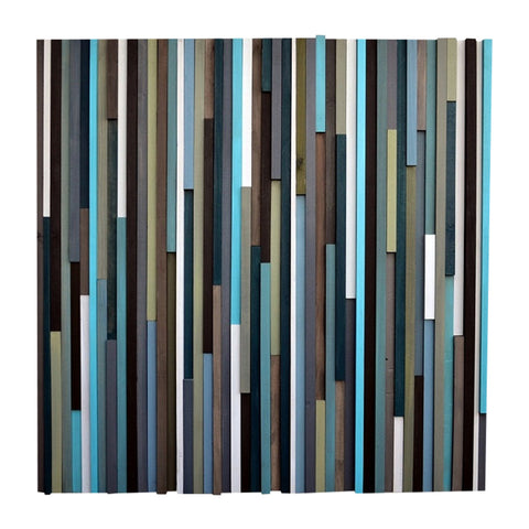 Wood Wall Art - Reclaimed Wood Art - Lines - 36 x 36 - Wood Art Blues and Greens - Modern Textures