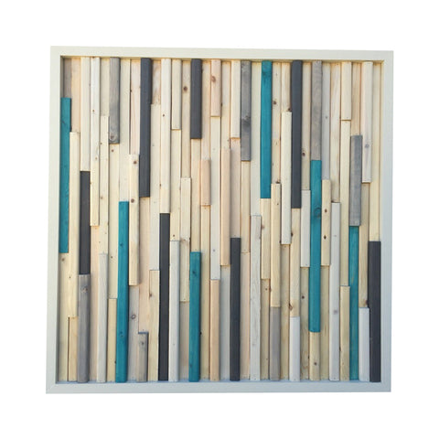 Wood Sculpture Wall Art - 3D Art- 24x24- White and turquoise - Modern Textures