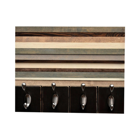 Wood Wall Art with Hooks - Key Hanger - Organizer - Recycled, Distressed Wood - 14x11 - Modern Textures