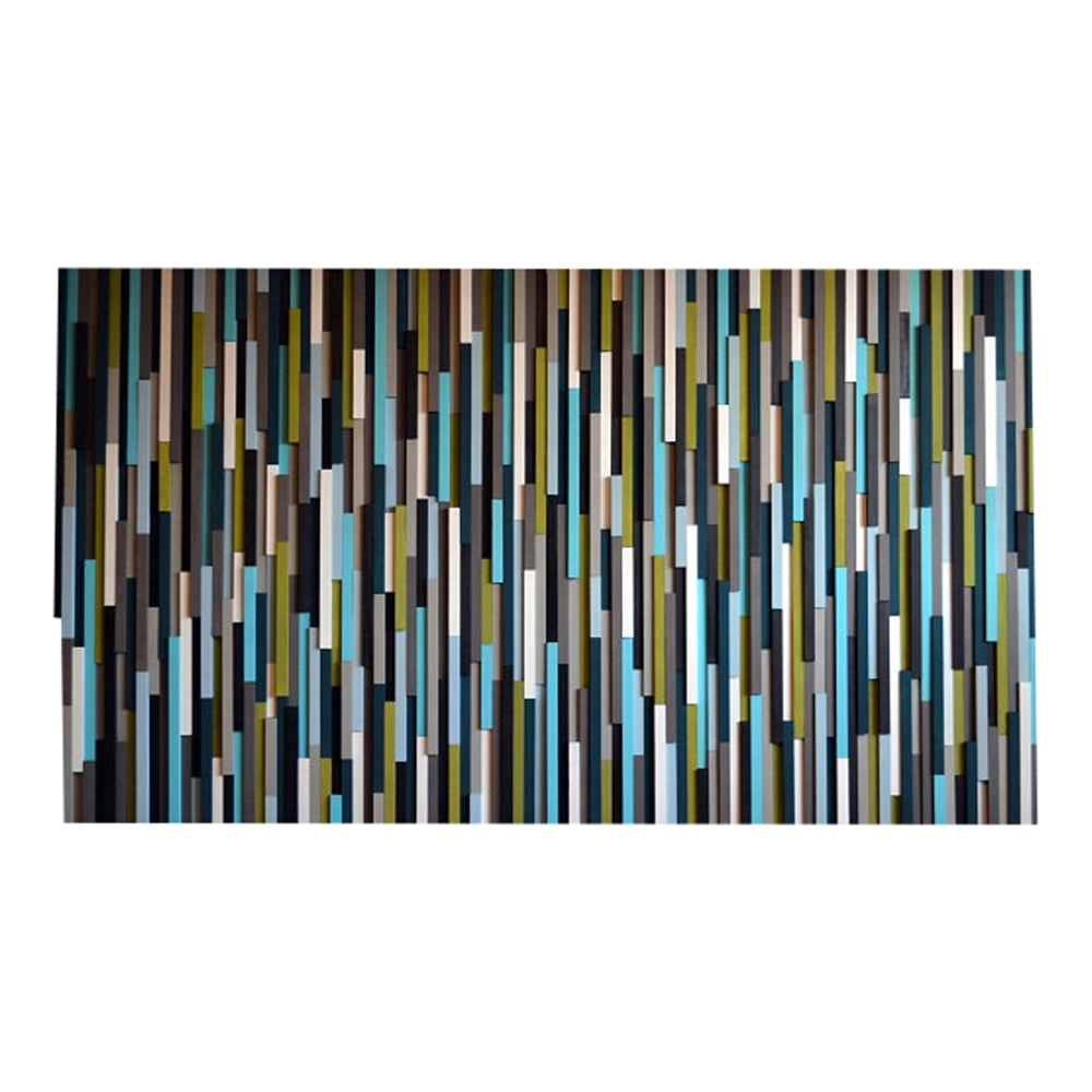 Wood Wall Art/Sculpture Wall Artwork - 3D Art - 40 x 70 - Turquoise and Green - Modern Textures