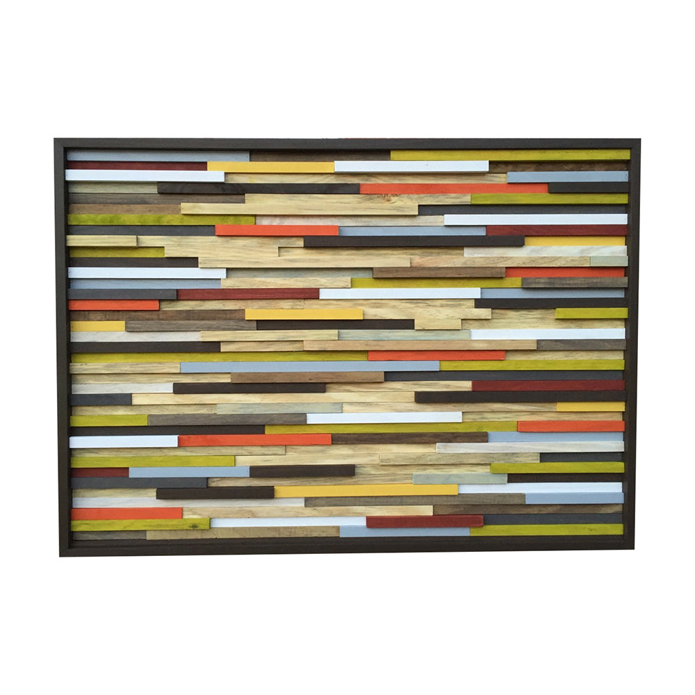 Wood Wall Art - Skinny Rectangles - Reclaimed Wood - Abstract Sculpture 42X30 - Modern Textures
