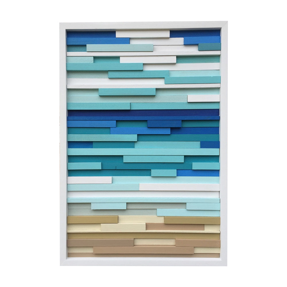 Wall Art - Wood Wall Art - Wood Sculpture - Modern Reclaimed Wood - Ocean 20x40 - Modern Textures