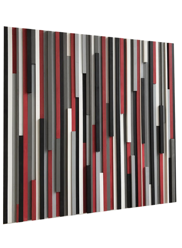 Wood Wall Art Reclaimed Wood Art Sculpture Modern 3d Artwork Red White Black