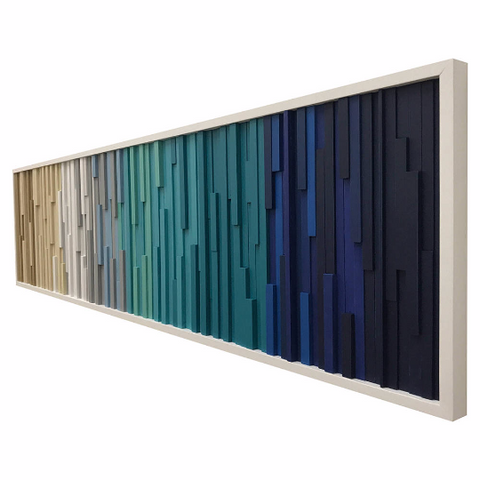 Wall Art - Wood Wall Art -  Wood Sculpture - Modern Reclaimed Wood - 3D Art - Headboard Ocean 72x18 - Modern Textures