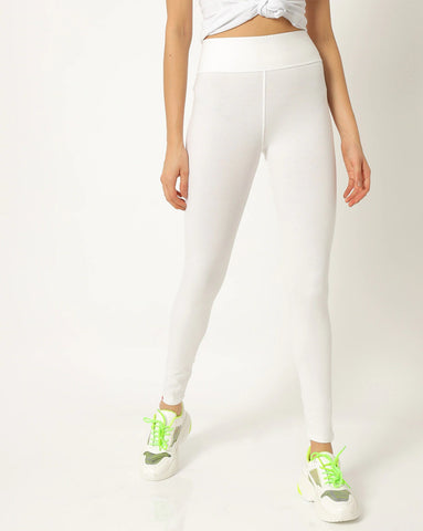 Adorna Active Leggings - Peace White