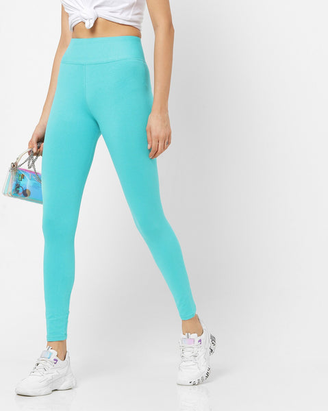 Adorna Active Leggings - Aqua Blue