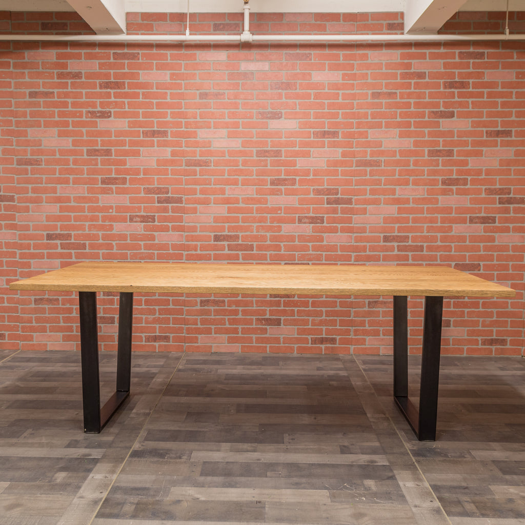 Red Oak Table - Steel Trapezoid Base
