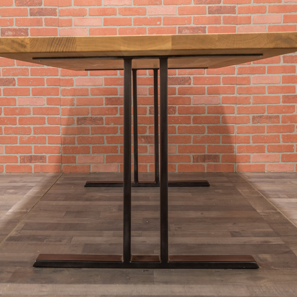 White Oak Table - Steel I-Frame Base
