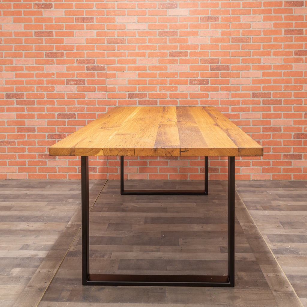 Reclaimed Oak Table - Steel Square Base