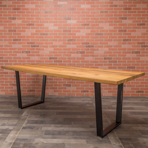 Reclaimed Oak Table - Steel Trapezoid Base